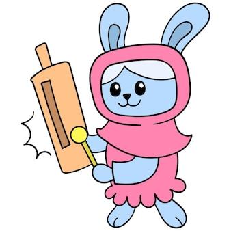 Muslimische frauen kaninchen mit hijab mode, vektorillustrationskunst. doodle symbolbild kawaii.