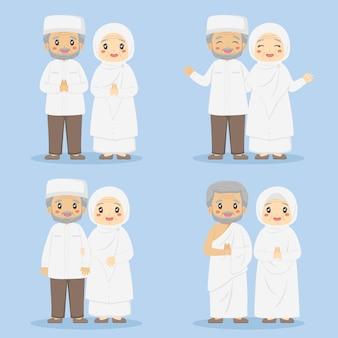 Muslimische großeltern in weißer kleidung eingestellt