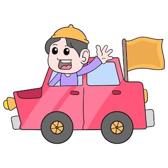 Muslimische jugendliche, die eid al fitr feiern, fahren ein auto mit einem fröhlichen gruß, vektorgrafiken. doodle symbolbild kawaii.