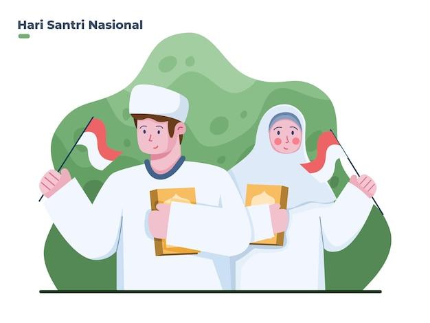 Muslimische jungen und mädchen feiern am 22. oktober den nationalfeiertag santri happy santri day