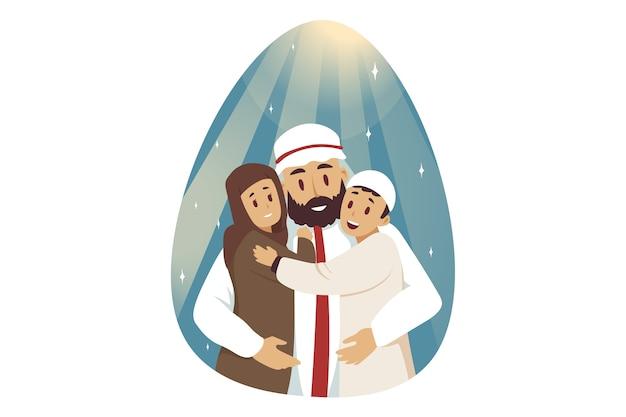 Muslimische karikaturfigur des jungen arabischen mannes, die kinderkinderjungen und -mädchen umarmt, die zusammen aufwerfen