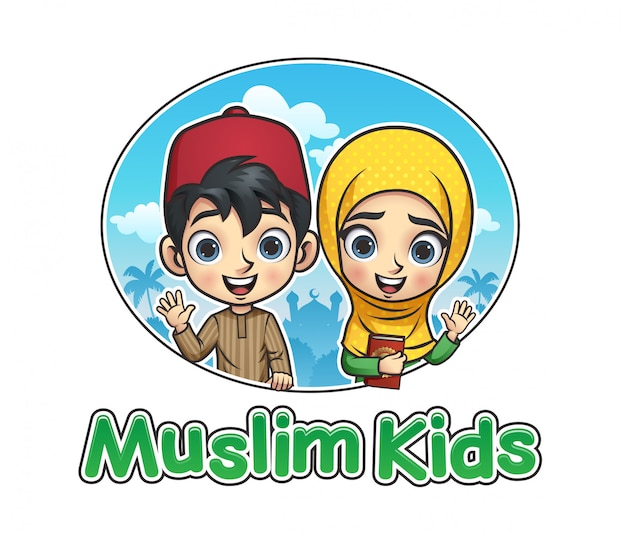Muslimische kinder illustration