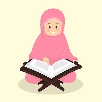 Muslimische kinder lesen im sitzen den koran