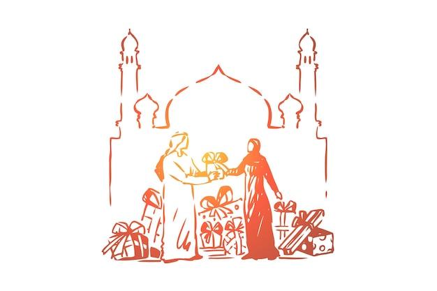 Muslimische leute, die einander geschenke geben, heilige islamische festfeierillustration