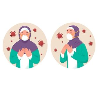 Muslimische mädchen beten, um infizierte koronaviren während des ramadhan zu vermeiden