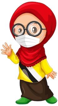 Muslimische mädchenbrille, die maske trägt