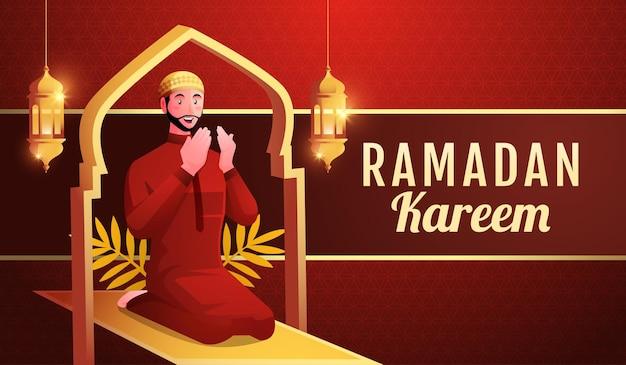 Muslimische männer beten, um ramadan kareem willkommen zu heißen