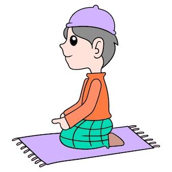 Muslimische männer sitzen und verrichten anbetung, vektorillustrationskunst. doodle symbolbild kawaii.
