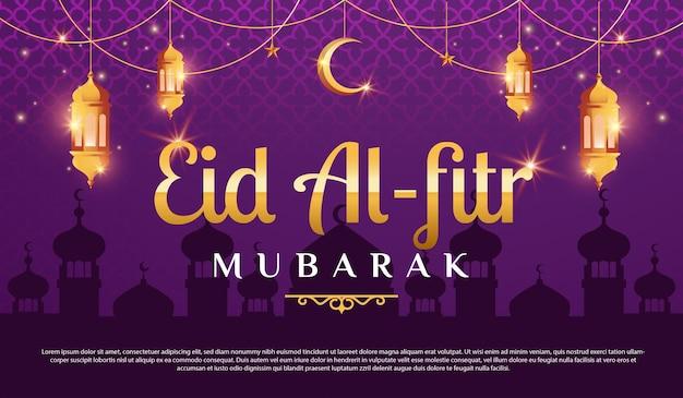 Muslimische männer und frauen begrüßen eid al fitr mubarak