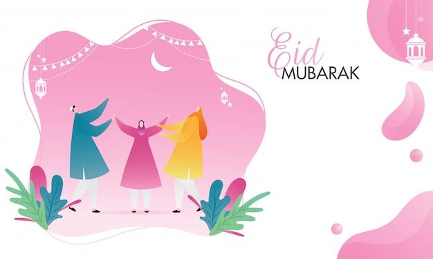 Muslimische männer und frauen, die anlässlich von eid mubarak genießen.