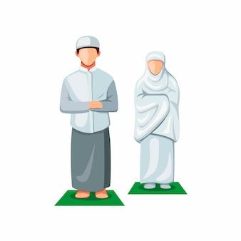 Muslimische menschen, die in der vorderansicht beten.