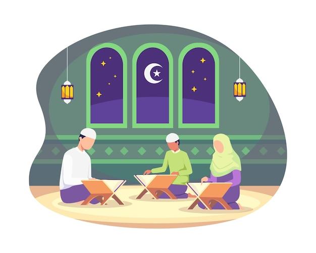 Muslimische menschen, die während des heiligen monats ramadan kareem den koran lesen, den koran lesen und studieren
