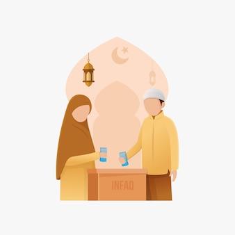 Muslimische menschen geben flache vektor-cartoon-illustration der spende