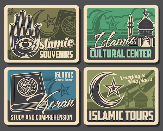 Muslimische moschee, koran, hamsa hand. islam religion