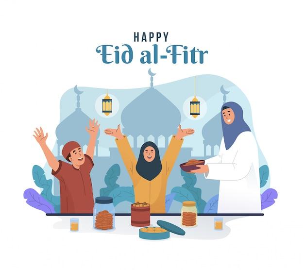Muslimische mutter, die ihren kindern etwas zu essen serviert. eid mubarak flache zeichentrickfigur abbildung