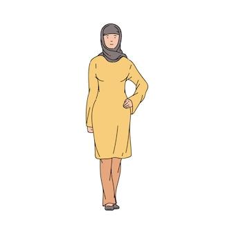 Muslimische oder arabische frau mit der hijab-skizzenvektorillustration lokalisiert.