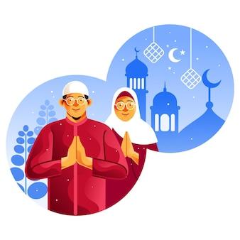 Muslimische paare feiern eid mubarak