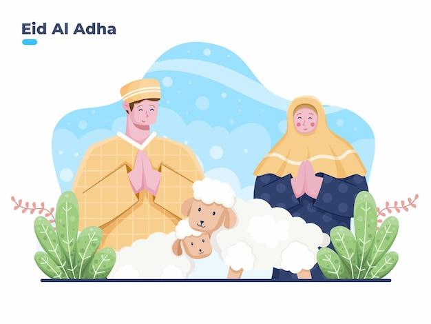 Muslimische personenpaare, die glückliche eid al adha-vektor-flache illustration grüßen