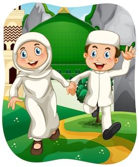 Muslimische schwester und bruder zeichentrickfigur