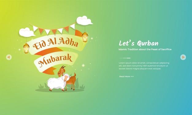 Muslimischer feiertag von eid al adha mubarak mit ziegen- und schafscharakter
