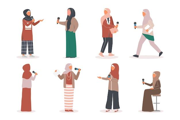 Muslimischer fernsehjournalist oder nachrichtenreporter eingestellt. muslimischer charakter, der in sozialen medien arbeitet. reporter spricht mit mikrofon.