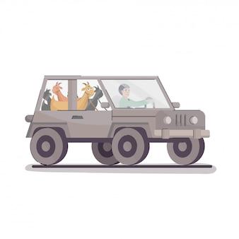 Muslimischer junge, der jeep mit karikaturziegen auf weißem hintergrund fährt.