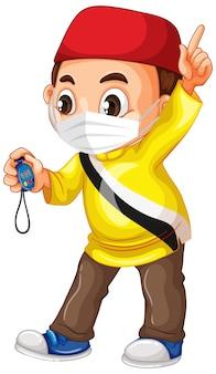 Muslimischer junge, der maske trägt und zeitschaltuhr hält