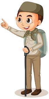 Muslimischer junge im safari-outfit