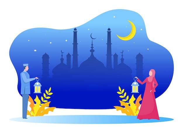 Muslimischer junger mann und frau bringen lampe und gehen zur moschee