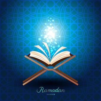 Muslimischer koran mit magischem licht für den ramadan des islam