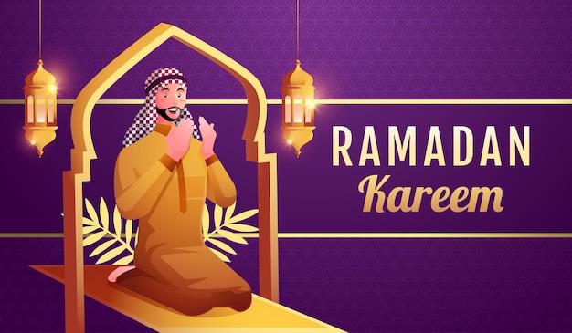Muslimischer mann betet, um ramadan kareem willkommen zu heißen