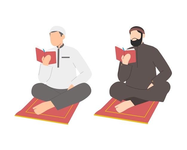 Muslimischer mann, der auf gebetsteppich sitzt und koran liest
