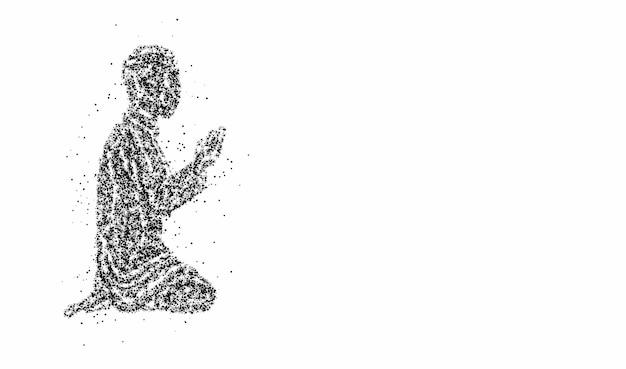 Muslimischer mann, der betet (namaz, islamisches gebet) - partikel-vektor-hintergrund.