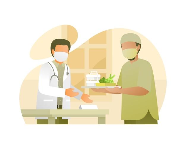 Muslimischer mann, der dem arzt im krankenhaus ein essen gibt