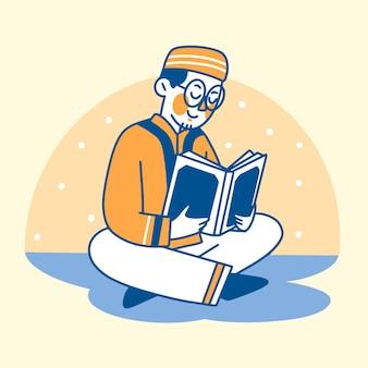 Muslimischer mann, der den heiligen koran bei der ramadan-nacht-illustration liest