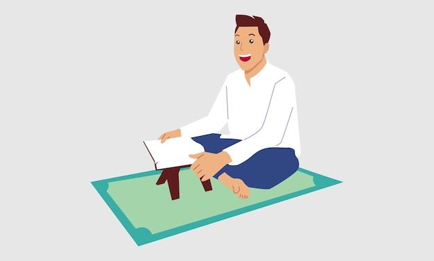 Muslimischer mann, der heiligen koran liest