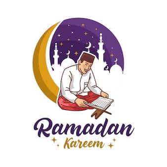 Muslimischer mann, der heiligen koran während des ramadan liest