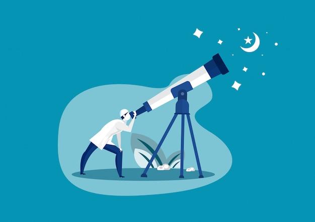 Muslimischer mann, der himmel mit teleskop schaut, um vorherzusagen, wann ramadhan beginnen
