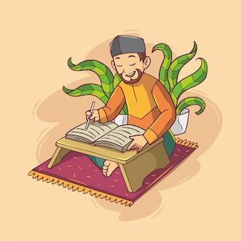 Muslimischer mann, der koranillustration liest