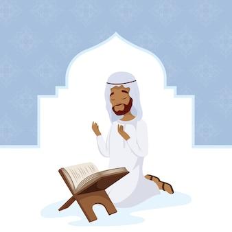 Muslimischer mann, der mit korancharakter betet