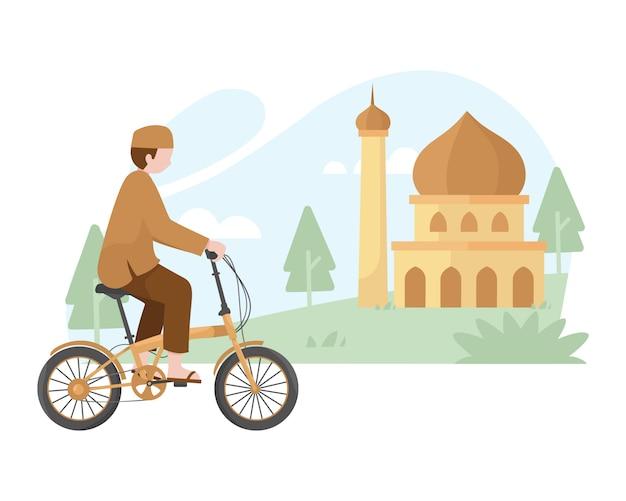 Muslimischer mann, der sein faltrad zur moscheenillustration reitet