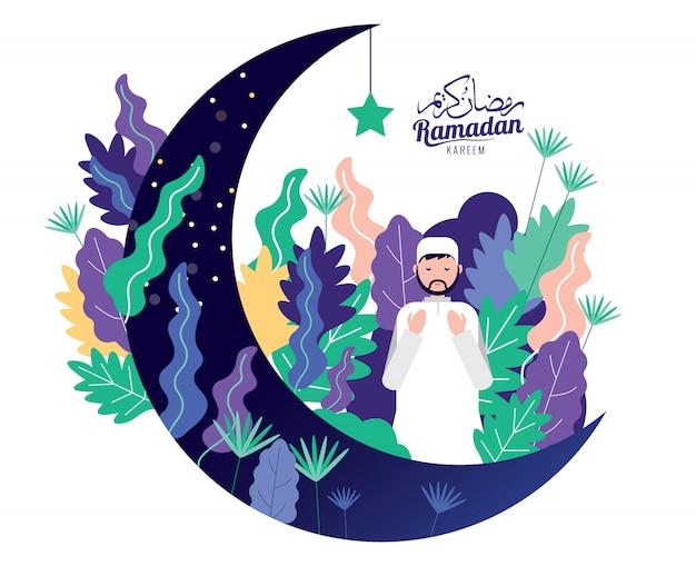 Muslimischer mann im traditionellen outfit-gebet für den heiligen monat ramadan kareem.