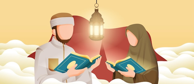 Muslimischer mann und frau, die koran oder koran im heiligen monat ramadan kareem mit halbmond- und sternillustration lesen