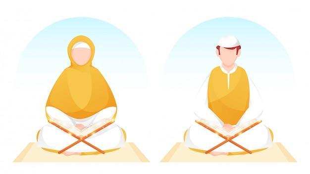 Muslimischer mann und frau, die magisches koranbuch auf gelber matte lesen.
