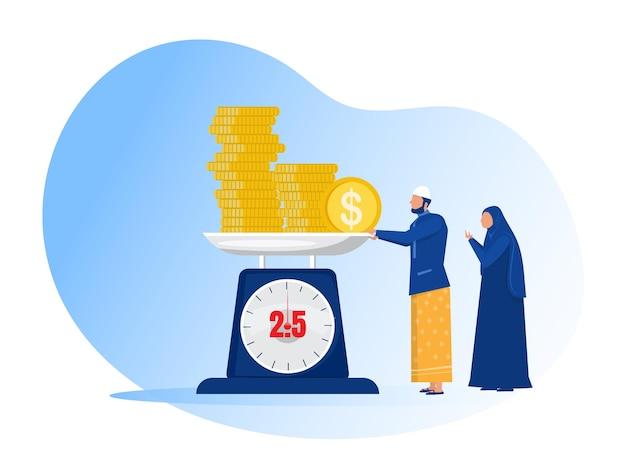 Muslimischer mann zahlt zakat vom gewinn auf ramadan kareem.