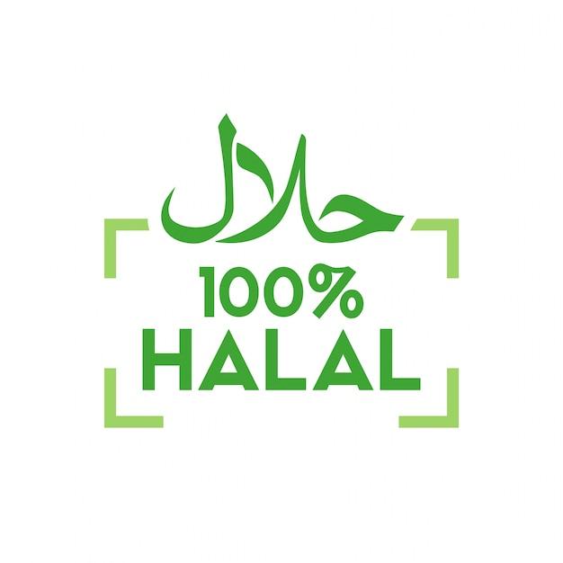 Muslimischer traditioneller halal lebensmittelikonenvektor. abzeichen, logo, tag und label. geeignet für bann
