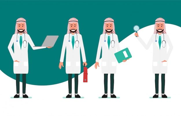 Muslimischer und arabischer doktorcharakter. krankenhausarbeiter und medizinisches personal.