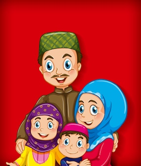Muslimisches familienmitglied auf farbverlaufshintergrund der karikaturfigur