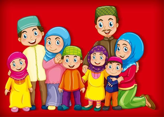 Muslimisches familienmitglied auf zeichentrickfigur