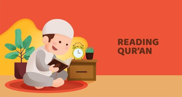 Muslimisches kind sitzt und liest koran mit glücklichem lächelngesicht, rezitierend heiliges buch des islam